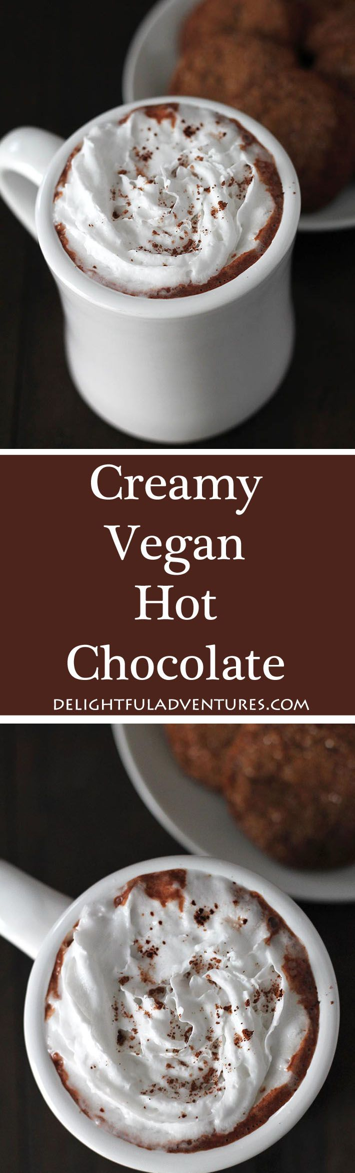 Why have regular hot chocolate when you can make yourself this easy, dairy-free creamy vegan hot chocolate to warm up with instead? #veganhotchocolate #dairyfree #dairyfreehotchocolate #hotchocolate