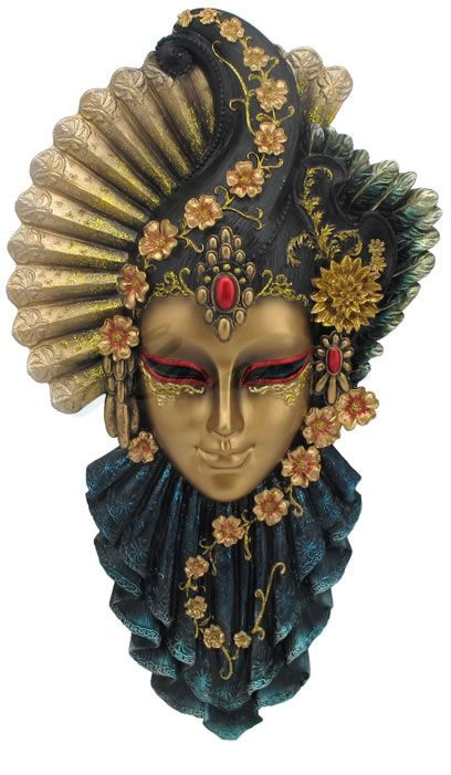 Fan and Feather Venetian Mask Wall Plaque