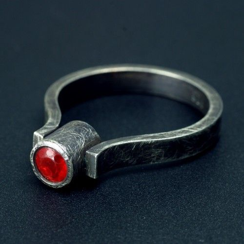 Fire Opal and Oxidized Silver Ring