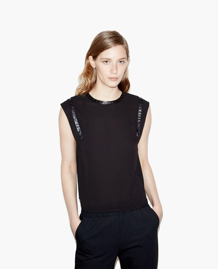 Top with studded-leather effect details - Women Sport - The Kooples