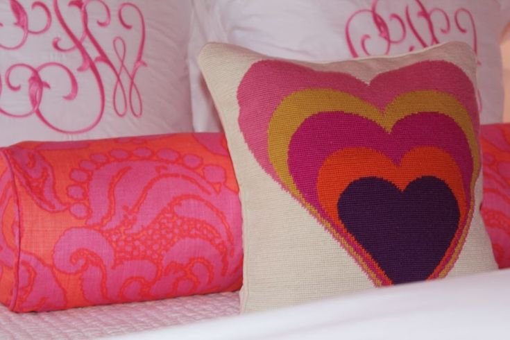 What can we way - we <3 this pillow! #biggirlroom: Initials Pillows, Children Rooms, Heart Pillows, Children Pillows, M S Rooms, Pink Girls Rooms, Big Girls, Bedrooms Ideas, Kids Rooms
