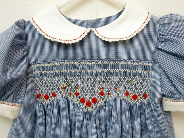 Smocked Dress with Bees (Inspiration) - such a pretty design! I'd make it with a solid aubergine fabric rather than blue gingham.