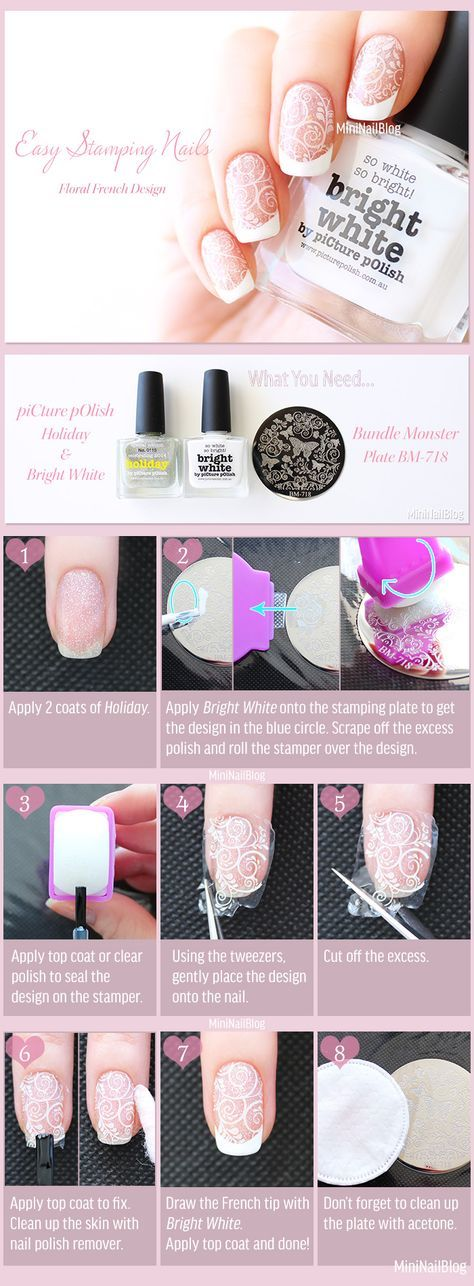 Easy Stamping Nails with self-made decal technique! See more photos at: https://nailbees.com/easy-stamping-nails #NailArt #NailTutorial #EasyNails #NailStamping