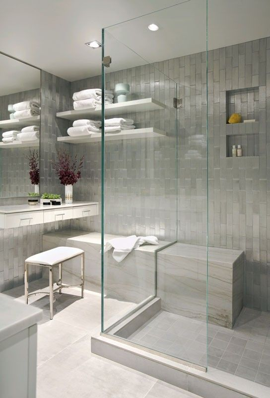 Gray and white bathroom.