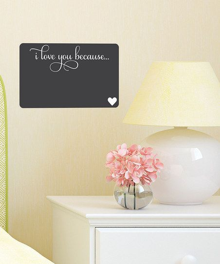 This is a pretty awesome idea. :: 'I Love You Because' Chalkboard Wall Decal