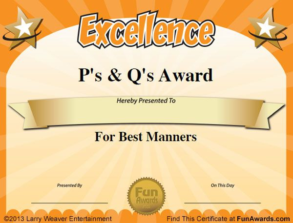 Free Funny Award Certificates Templates | Sample Certificates: 101 In All  PLUS 7 Award Templates