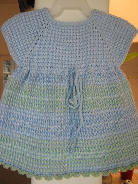 Blue Green White Crochet Baby Dress  Tunisian by ForBabyCreations,