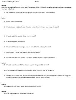 best frankenstein study guide ideas  frankenstein reading questions study guide
