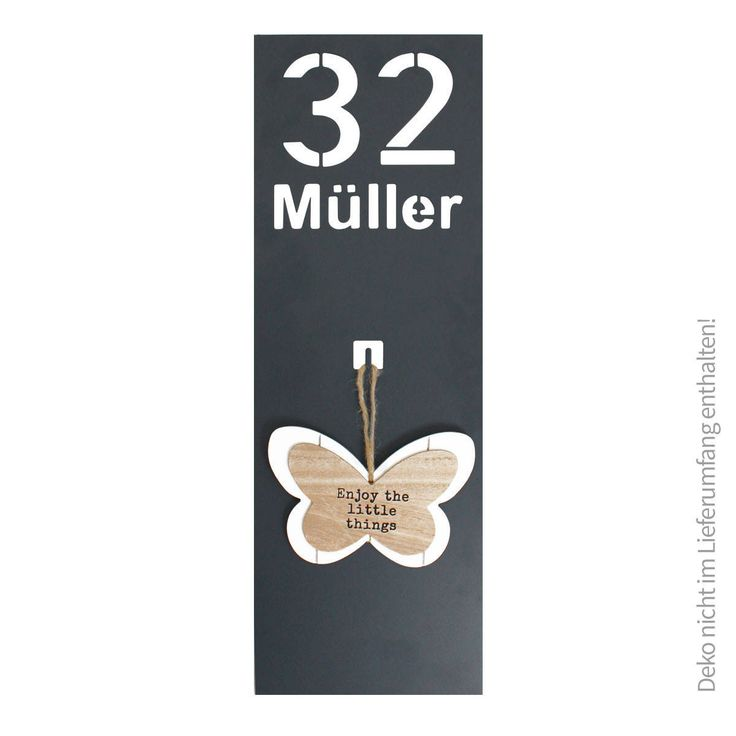Thorwa Design Edelstahl Hausnummer Hausnummernschild mit Dekohaken mit Deko RAL 7016 Anthrazit Anthrazitgrau