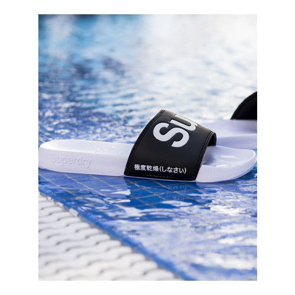 Superdry Pool Slider ($25) ❤ liked on Polyvore featuring shoes, sandals, white, strap shoes, summer footwear, white summer sandals, summer shoes and white strappy sandals
