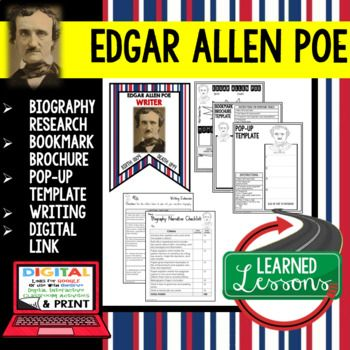 Edgar Allan Poe Biography Research, Bookmark Brochure, Pop-Up, Writing, Digital Link for Google Classroom Use ➤American History Biography Research ➤American History Profiles and Biographies ➤CLASSROOM DECORATION ➤INTERACTIVE NOTEBOOK ENTRIES ➤PROJECTS ➤HISTORICAL RESEARCH ➤PROFILES ➤BIOGRAPHIES ➤Digital Google Classroom