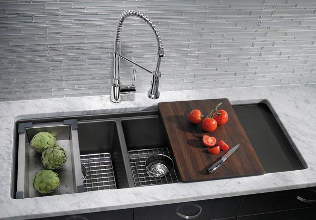 double bowl sink with sliding chopping board, basket, drying rack, etc.