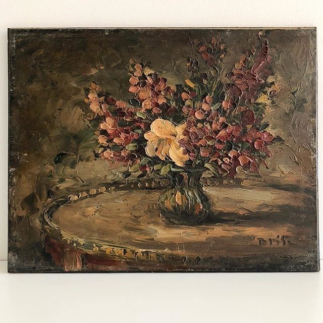 - French Floral Oil Painting - $420  A beautiful and old French Oil Still Life painted on hardwood board.  The brushstrokes are thickly textured in deep plums pinks and greens on a dark background. The painting has a wonderfully atmospheric dark and aged patina.  Signed lower right.  30.4cm wide 24cm high  To BUY this piece HIT THE LINK IN THE BIO  #Still Life   #affordableart #antiqueart #antiquepainting #artcollectors #artlovers #artonline #artshop #artsource #darkfloral #floral…