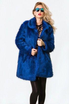 The Girl That Loves Sessiz Gece Royal Mavi Kürk Kaban: Lidyana.com