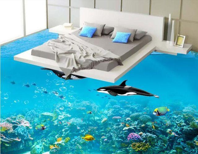3 d suelo personalizado de papel 3d pared del baño piso el mar de delfines wallpaper 3D suelo pinturas murales de pared 3d wallpaper