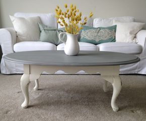 farmhouse shabby chic vintage oval coffee table makeover with Rustoleum and FolkArt chalk paint
