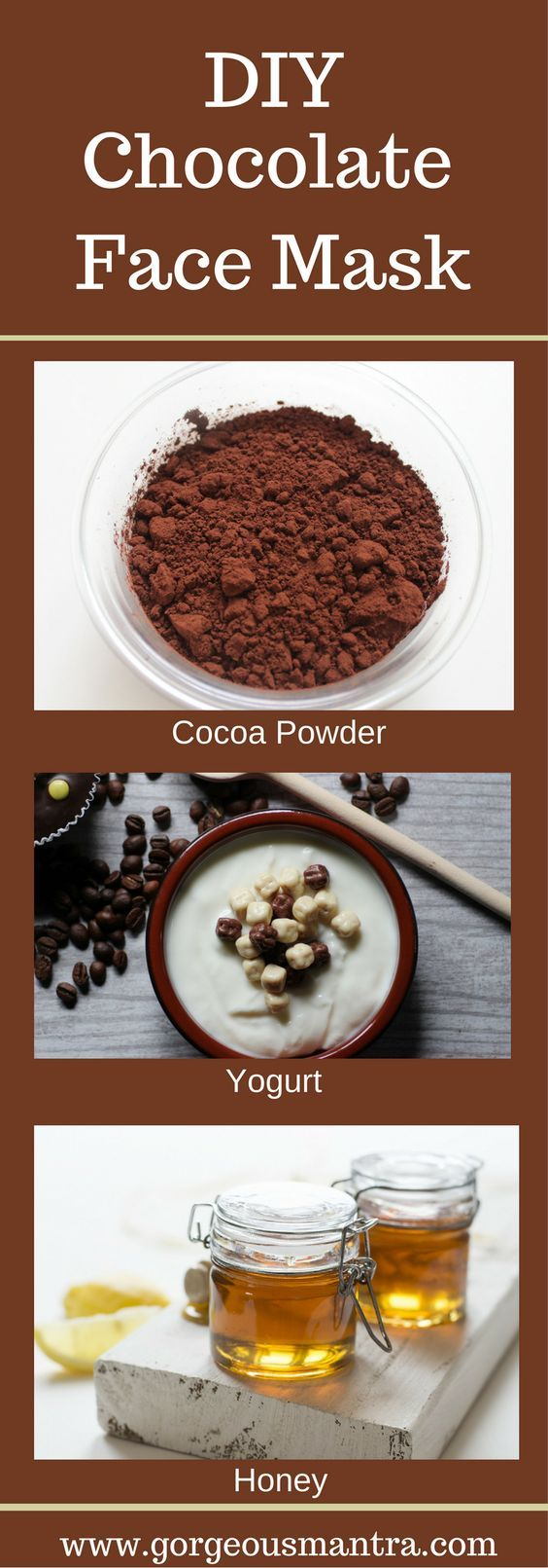 Pamper your skin with a DIY Chocolate Mask. This homemade face mask is full of antioxidants and is great for the skin.