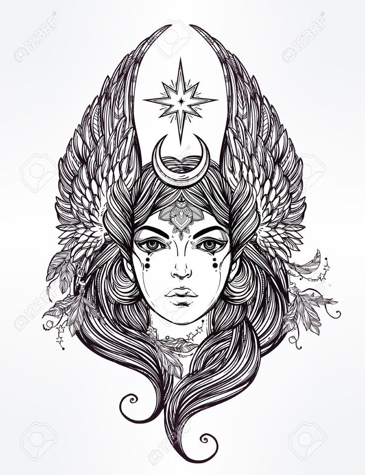 46673392-Hand-drawn-romantic-beautiful-artwork-of-Female-diety-with-stars-wings-and-moon-Alchemy-religion-spi-Stock-Vector.jpg 1,000×1,300 pixels
