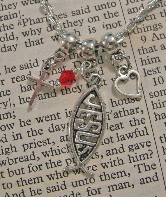 FAITH Christian Ichthys Necklace With Cross, Heart & Accent Bead (Your Choice Of Color) - Christian Faith Jewelry - Custom Orders Welcome  This lovely, inspiring necklace is the perfect accessory with which to share your faith in Christ. This would make a very thoughtful gift. Suitable