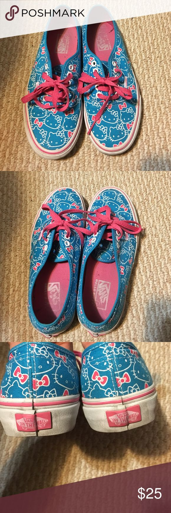 SALE! 🎉 Pink and teal hello kitty Vans Pink and teal hello kitty vans. Great condition. Rare edition. Pink polka dotted laces. Inner and outer soles in great condition Vans Shoes Athletic Shoes