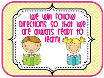 Classroom Rules to Encourage Positive Behavior Choices - elementary organization - TeachersPayTeachers.com
