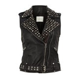 Black Sleeveless Leather Studded Jacket