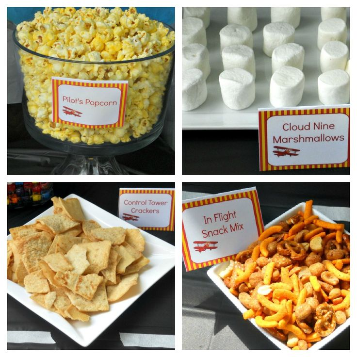 airplane party food-- don't like these snacks, but I love the idea.