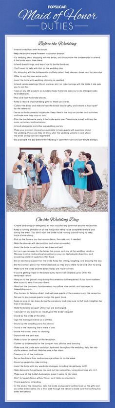 Your maid of honor duties checklist!