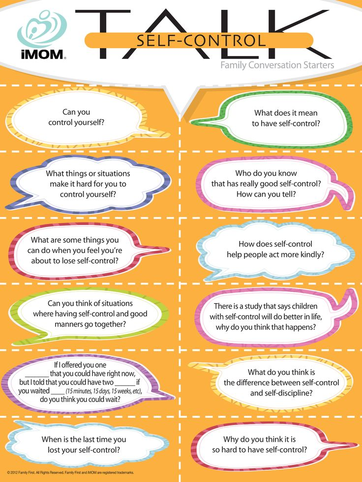 Self-Control Talk, Conversation Starters