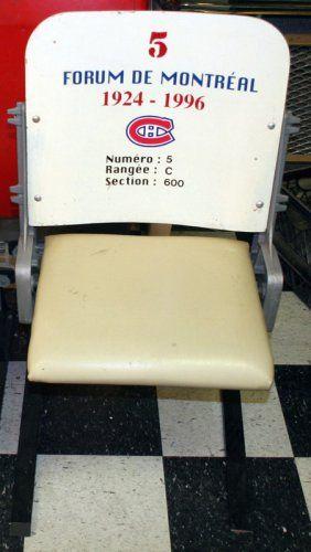 "MONTREAL FORUM HOCKEY SEAT Original; section 600 Row C Seat 5; laminated wood backs with padded seats; mounted on custom brackets; H-37"", W-22"", VG-EX"