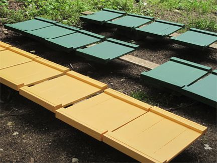 Bee hive tops drying in the sun at Brookfield Farm Bees And Honey, Maple Falls, WA