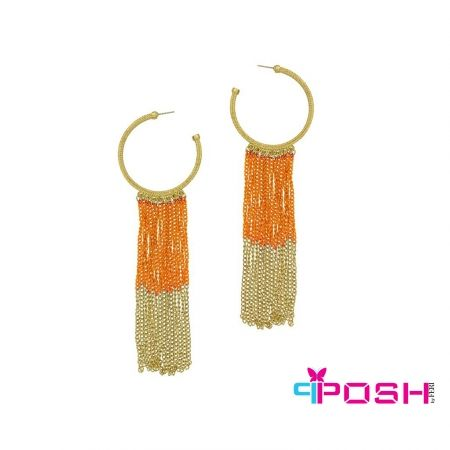 Asal - Earrings Colourful dangle hoop earrings  - Gold and orange colour - Dimensions: 16 X 5 cm
