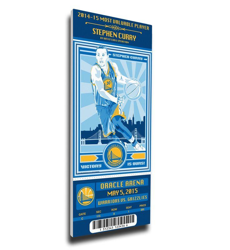 Warriors (Speakman) Stephen Curry Wall Art - 2015 NBA MVP Artist Series Canvas Mega Ticket