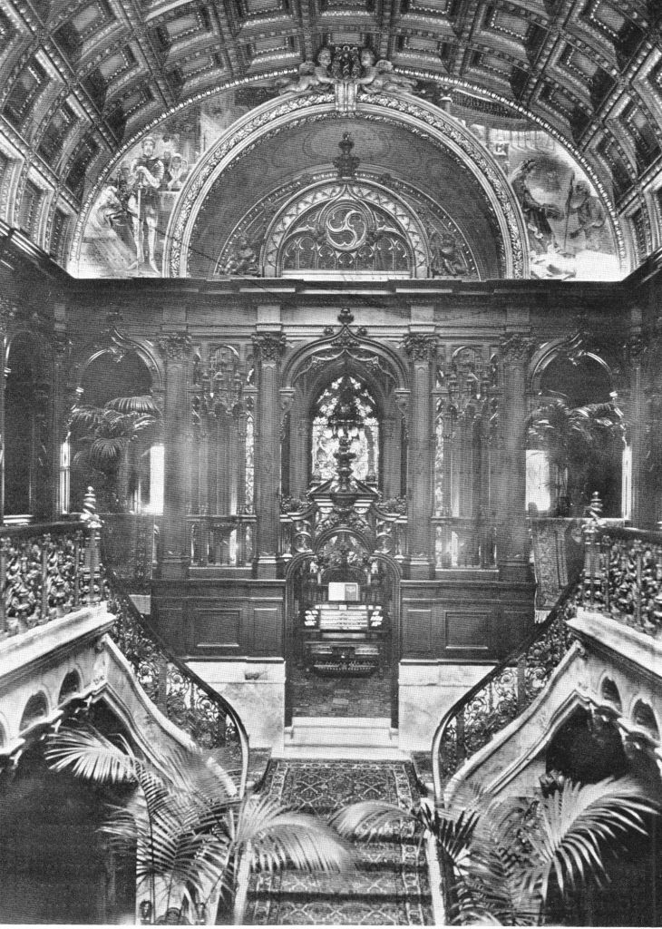 Stairway of the Charles M. Schwab mansion, 1901.  All gone now, torn down to build a cheap apartment building...what a shame.