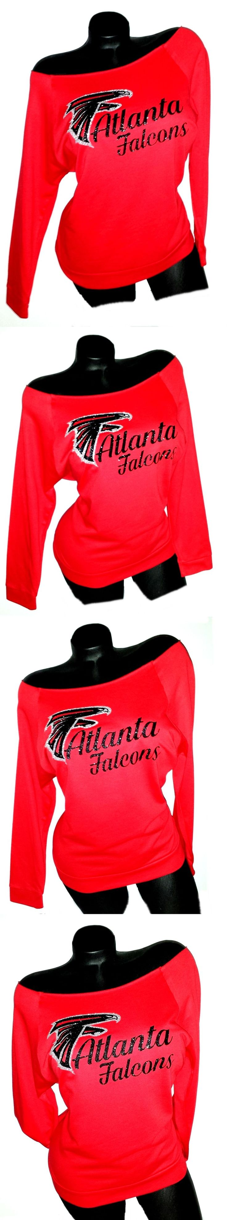 Women 159110: Atlanta Falcons Red Scoop Neck Rawedge Terry Lt.Wt.Jersey 3 4 Sleeve!Super Bowl! -> BUY IT NOW ONLY: $32.99 on eBay!