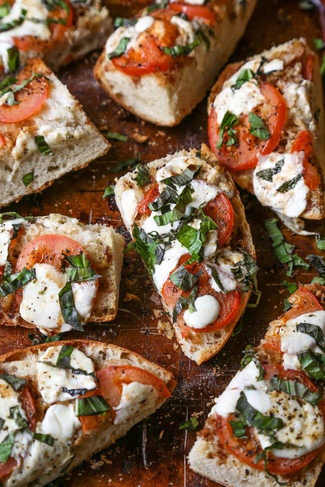 Tomato, mozarella and basil on bread #food