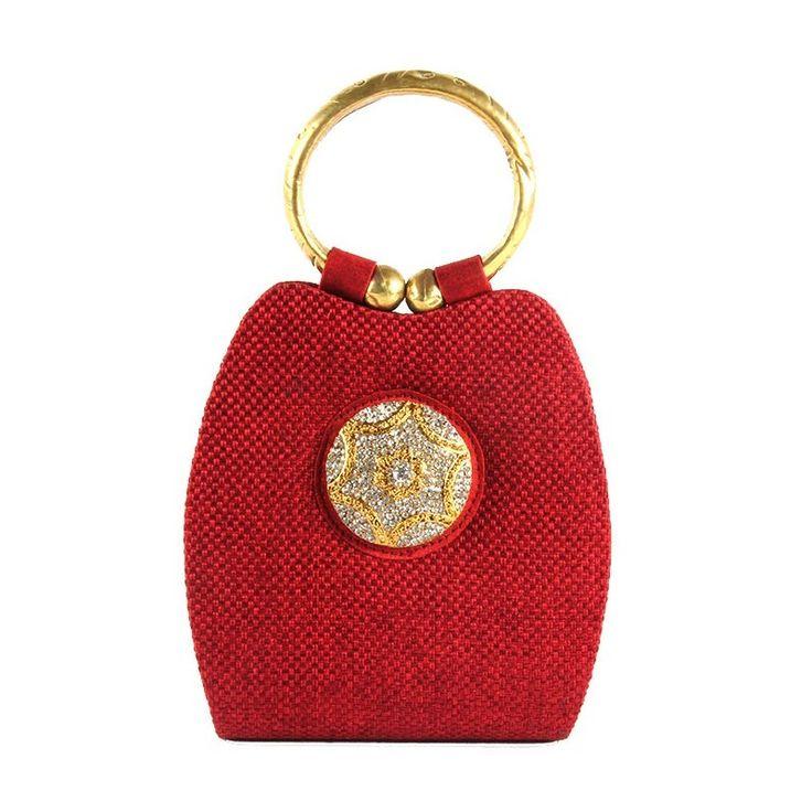 Saisha Red Jute with Crystal Brooch #Designer Festive #HandBag #onlineshopping http://goo.gl/JbthiU