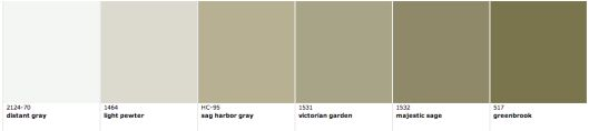 Other shades on the BM Revere Pewter colorstrip: Distant Gray, Light Pewter, Sag Harbor Gray, Victorian Garden, Majestic Sage, Greenbrook