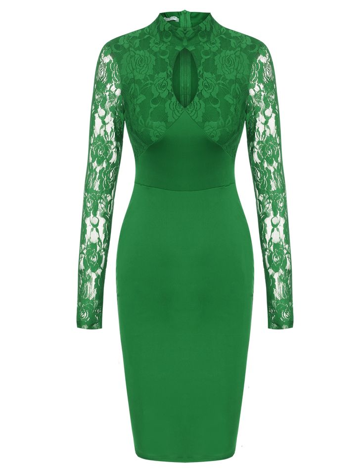 ACEVOG Green Women's Stand Collar Lace Long Sleeve Bodycon Cocktail Party Pencil Going Out Dresses dresslink.com