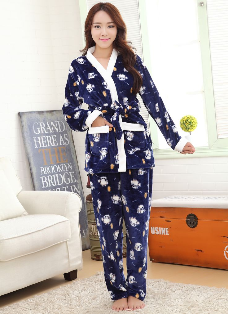 Mink Cashmere Couple Winter Pajama Set, different size for choice & different styles for choice