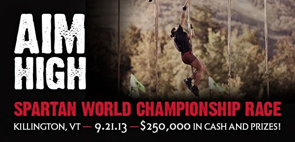 Aim High: Reebok Spartan World Championship Race on NBC Sports Network. Get 15% off your entry. Click here.