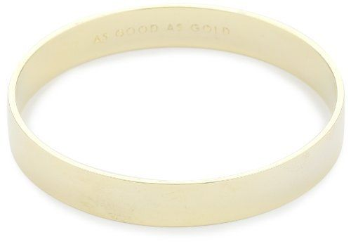"Kate Spade New York ""As Good As Gold"" Gold-Tone Idiom Bangle Bracelet Kate Spade New York. $42.00. Made in China. Store in the cloth bag provided. To clean simply rinse in warm water and pat dry with soft cloth. Please wait to put on jewelry until after you have applied your make up and perfume. To clean simply rinse in warm water and pat dry with soft cloth Made in CN"