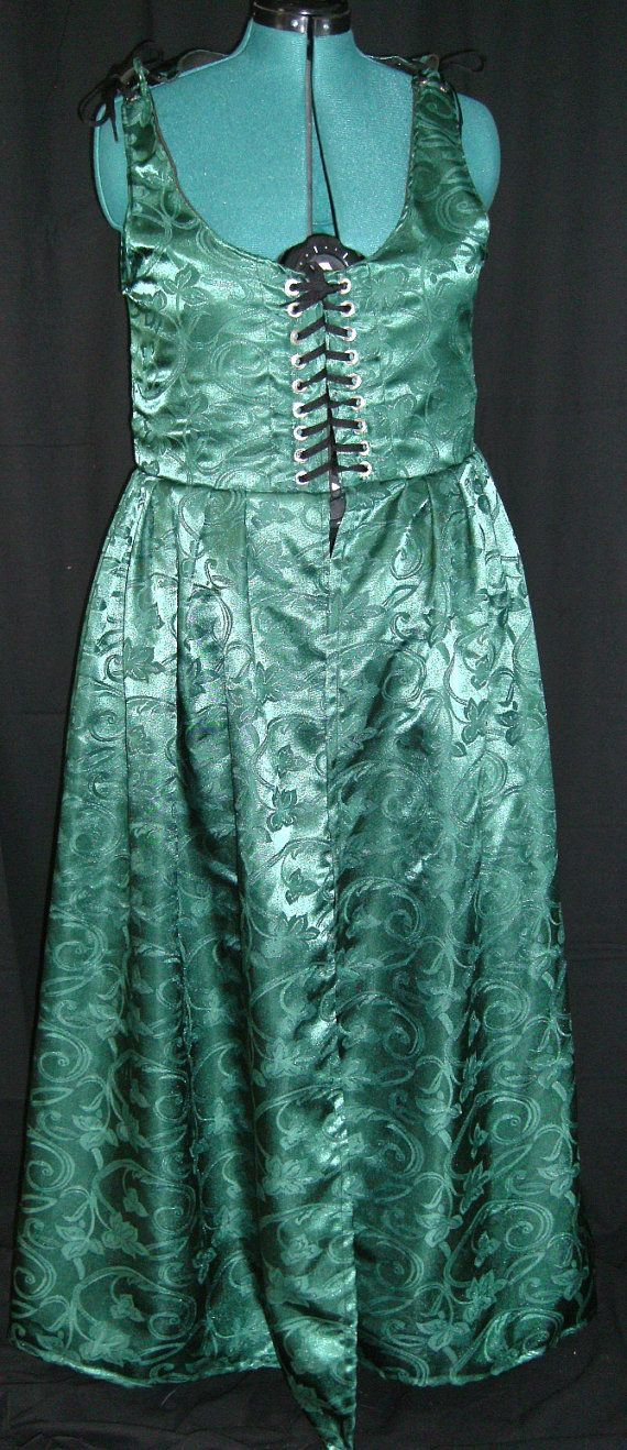 Green Brocade Irish Medieval Gown  Size 18 by Mordork on Etsy