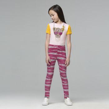 Обтягивающие трикотажные брюки для девочки, цвет светло-розовый