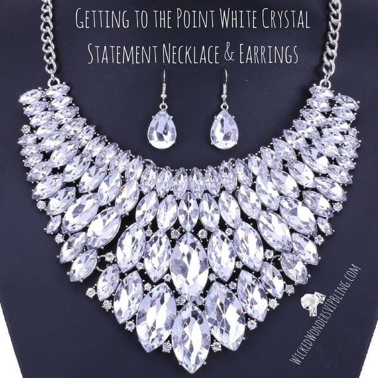 Getting to the Point White Crystal Statement Necklace & Earrings - Beautiful sparkling white statement necklace with glistening crystals, this striking necklace is expensive-looking yet very affordable
