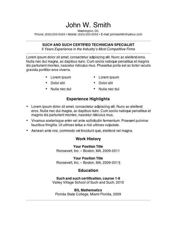 Basic Resume Example Free Basic Resume Template  Resume
