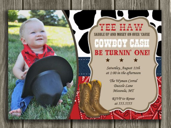 Printable Cowboy Birthday Invitation | Photo Invite | FREE Thank You Card Included | First or Second Birthday Party Idea | Western | Cow Print | Bandanna | Matching Party Package Available! Banner | Cupcake Toppers | Favor Tag | Food and Drink Labels | Signs | Candy Bar Wrapper | www.dazzleexpressions.com