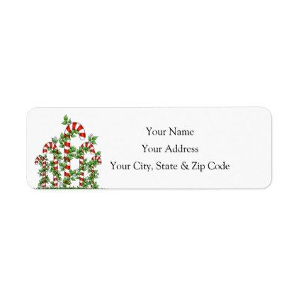 Candy Canes and Vines Christmas Address Label - Xmas ChristmasEve Christmas Eve Christmas merry xmas family kids gifts holidays Santa