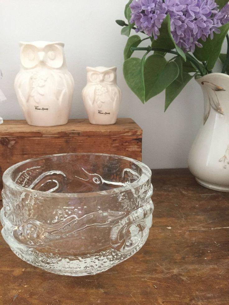 Josef schott /dragon/bowl/glass/Smålandshyttan by WifinpoofVintage on Etsy