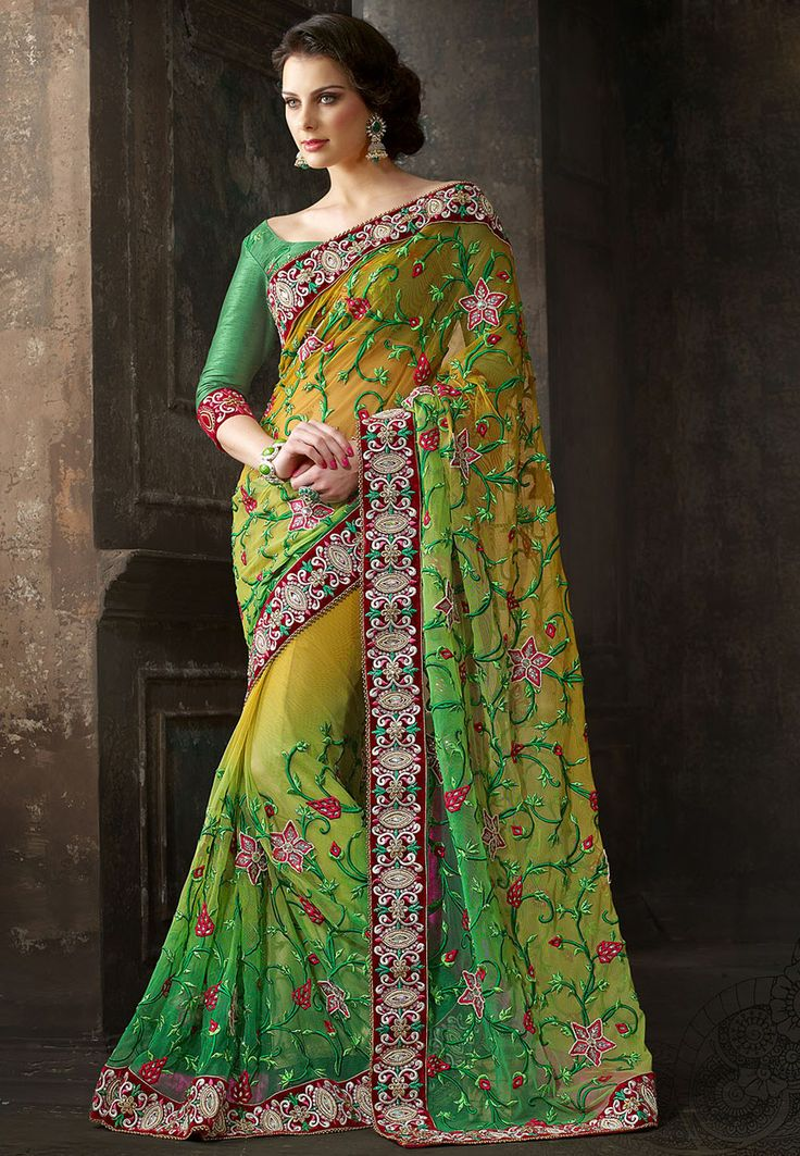 Shaded Mustard and #Green Net #Saree with Blouse Online Shopping: SFV2